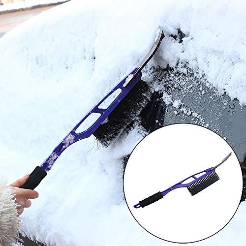 Ansenesna Eiskratzer Auto mit Besen Teleskop Kunststoff Stiel Schneeschaufel Werkzeug (Blau)