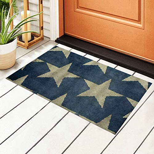 antcreptson American Flag Stars Patriotic Memorial Day Fourth of July Blue Beige Welcome Outdoor Door Mat, Indoor Entrance Non-Slip Doormats, Outside Patio PVC Rug Pad, Mesh Dirt Mud Trapper