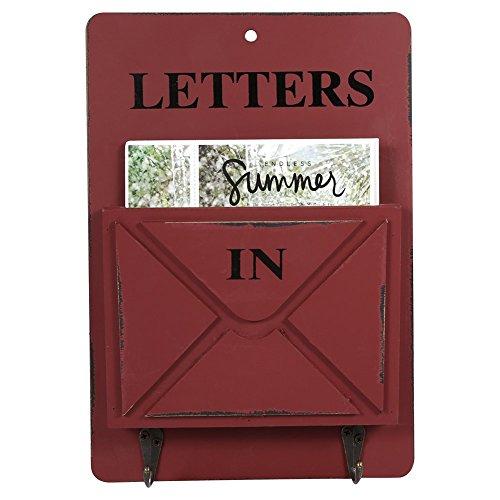 Aramox Boîte aux Lettres en Bois Porte-courrier Mural et Porte clés Mural Décoration de la Maison avec Corchet(Rouge)