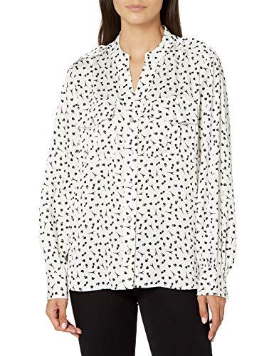 Karl Lagerfeld Paris Damen LNG SLV FRNCH CF BLS Button Down Hemd, Weiss/Schwarz,...