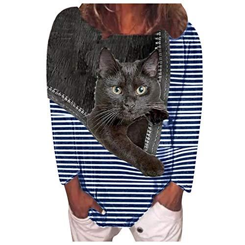 BOIYI Camisa De Manga Larga Mujer Cuello Redondo Camisetas A Rayas con Estampado De 3D Gatos Animado Camiseta Ropa De Calle Blusas Informal Tops(Azul,S)