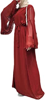 neveraway Womens Solid-Colored Bell Sleeve Islamic Dubai Arab Muslim Kaftan