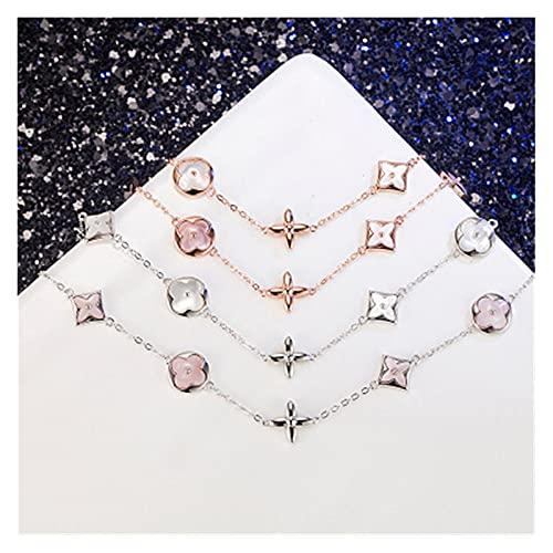 chushi Pulsera Silver Cinco Flor Pulsera Classic Light Luxury Pink Madre de Pearl Diamante Cuatro Hojas Trébol Pulsera Oro 19cm Plata Pulsera de Amistad Zzib (Color : Gold)