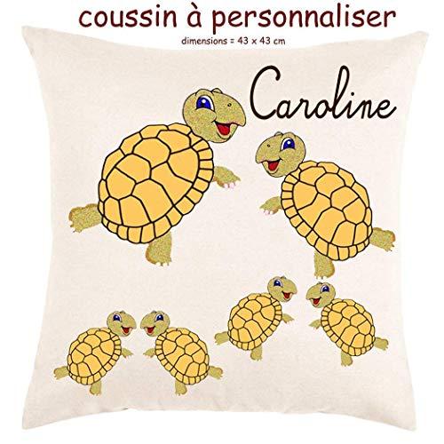 Coussin avec sa Housse Tortue Toucher très Doux Personnalisable avec un Prénom Exemple Caroline