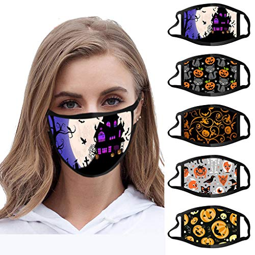 Halloween Masks Cotton Women Man Gifts Fashion Halloween Face Mask for Adults Comfortable Novelty Halloween Print Design Washable (5pc)