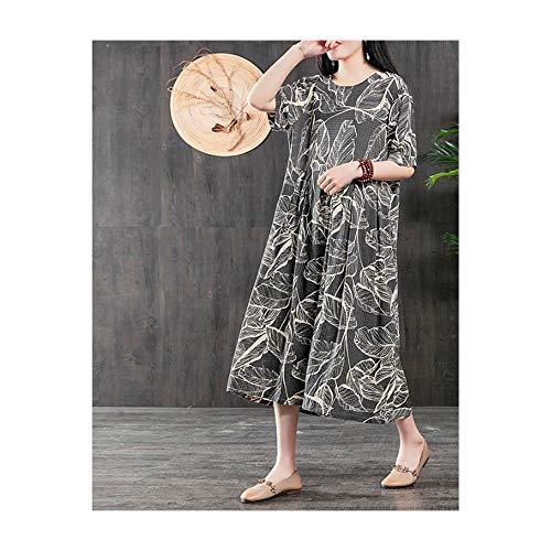 Bademode Loses lässiges Kleid in großen Größen im Ethno-Stil, kurzärmeliges Kleid aus Baumwolle und Leinen Bikinis (Farbe : Schwarz, Size : F)