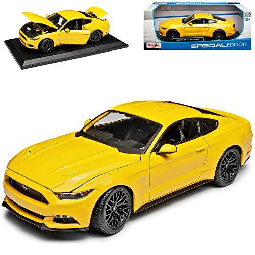 Ford Mustang VI Coupe Gelb Ab 2014 1/18 Maisto Modell Auto mit individiuellem Wunschkennzeichen