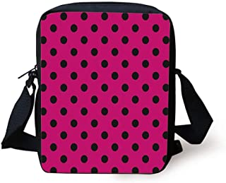 Crossbody Messenger Tote Bag Hot Pink  print with Lime polka dots