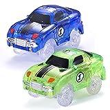 Codomoxo – Juego de 2 circuitos de coche mágicos fluorescentes flexibles para circuitos Magic Tracks luminosos fosforescentes (azul y verde)