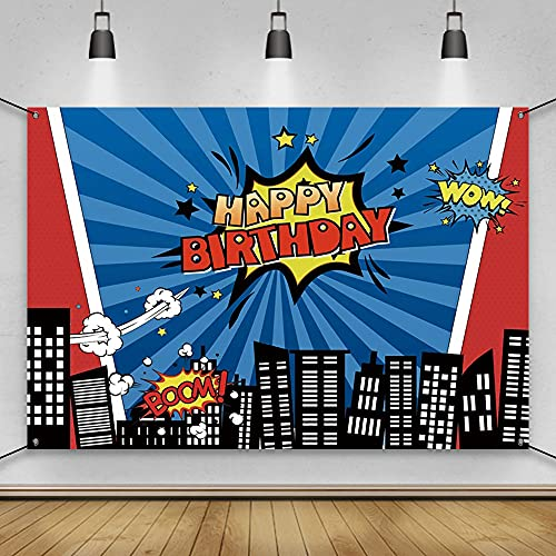 AWERT Polyester 6x3.6ft Happy Birthday Banner Superhero Super City Birthday Party Decorations Banner Cartoon City Night Scene High-rise Buildings Anime Birthday Party Supplies