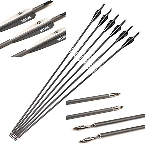 Sweetums Signatures 30' Archery Carbon Arrows Spine 340 Pure Carbon Shaft Hunting Practice Target Arrows with Removable Head for Recurve Compound Bow Under 75 Pounds Archery Shoot (6Pcs)