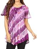 Sakkas 18708 - Blusa Flavia para Mujer Everyday con teñido Anudado y Block Print Light y Soft - Purple - Plus Size