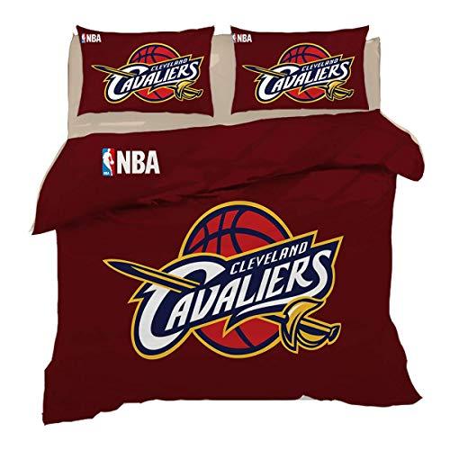 QWAS Cleveland Cavaliers - Juego de funda nórdica para todas las estaciones, 100% microfibra, 1 funda nórdica y 2 fundas de almohada (1,200 x 200 cm + 50 x 75 cm x 2 cm)