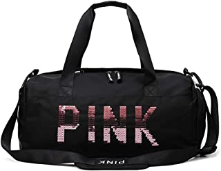 Fenfen-snb Sports Gym Bag with Shoes Compartment and Wet Pocket  Travel Duffle Bag for Men and Women  color Black