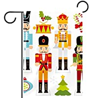 ガーデンヤードフラッグ両面 /12x18in/ ポリエステルウェルカムハウス旗バナー,クリスマスくるみ割り人形