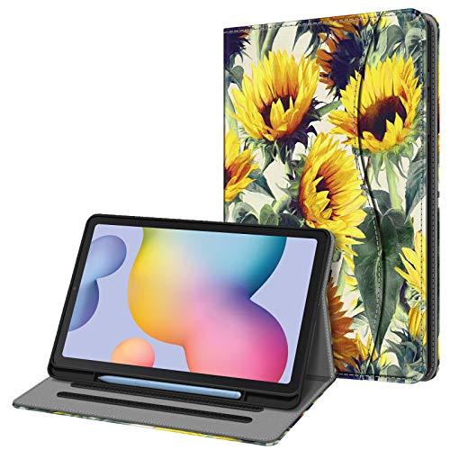 Fintie Funda para Samsung Galaxy Tab S6 Lite de 10.4' con Portalápiz - [Multiángulo] Trasera de TPU Suave con Bolsillo Auto-Reposo/Activación para Modelo SM-P610/P615, Girasol