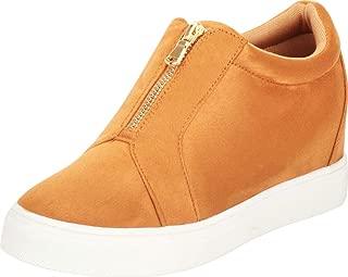 Cambridge Select Women's Low Top Front Zip Hidden Wedge Fashion Sneaker