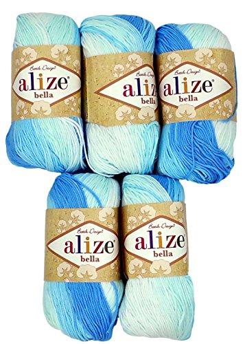 5x 50g in cotone, colore azzurro/bianco colore sfumato N. 2130, 250g di lana filato 100% cotone