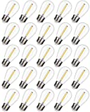 25 Pack EMITTING Shatterproof & Waterproof S14 Replacement LED Light Bulbs –1W Equivalent to 10W, White Warm 2200K Outdoor String Lights Vintage LED Filament Bulb, E26 Base Edison LED Light Bulbs