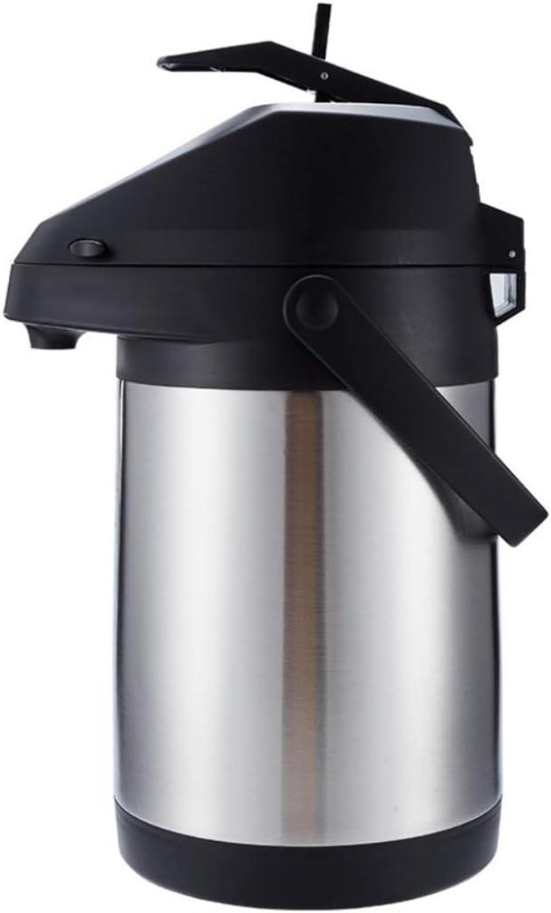 Pump Action Airpot Termo Termo Dispensador de bebidas Catering Vacío Aislante Air Pot Jarra para bebida fría caliente Té Café Acero inoxidable, Adecuado para bebidas frías o calientes hasta 24 horas