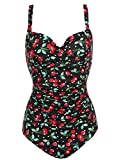 Ekouaer Womens 50s Retro Vintage Cherry Print One Piece Swimwear Monokinis Black Cherry,X-Large