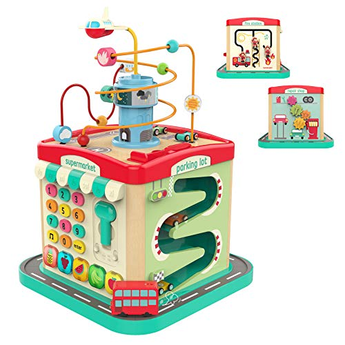 TOP BRIGHT Activity Cube Toys for 1 2 3 Year Old Boy and Girl, Wooden Activity Cube for Toddlers with Lights and Sounds