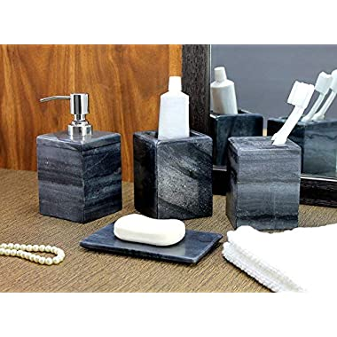 KLEO - Bathroom Accessory Set Made from Natural Stone - Bath Accessories Set of 4 Includes Soap Dispenser, Toothbrush Holder, Utility Soap Dish