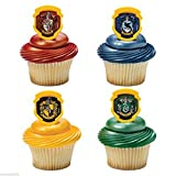 Harry Potter Hogwarts Houses Cupcake Rings 24ct Cake Toppers Party Favors