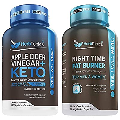 Apple Cider Vinegar Plus Keto BhB Salts with Night Time Fat Burner Bundle