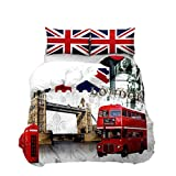 Feelyou Bettwäscheset London Cityscape Bettbezug Decoraive London Bridge Red Double Decker Bus Tröster Bezug 3D Modern Berühmte Stadt Tagesdecke Bezug mit 2 Kissenbezügen Queen Reißverschluss