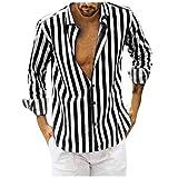 Men's Long Sleeve Button Down Solid Shirt Classic Casual Vertical Striped Slim Fit Dress Shirts Formal Shirt Black