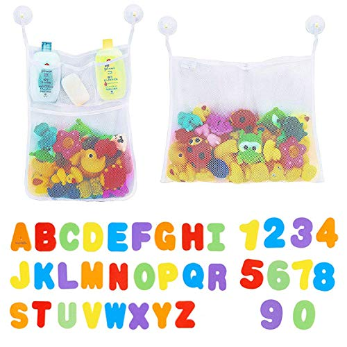 36 C... Click N/' Play Bath Foam Letters /& Numbers with Mesh Bath Toys Organizer