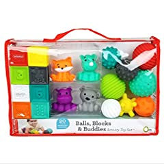 Age grade 0m+ 20 piece set 8 Textured Sensory Balls 8 Numbered Counting Blocks 4 Animal Buddies