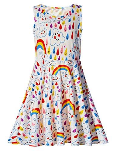 Adicreat - Vestido sin mangas para niña, con cuello redondo, estampado, vestido informal o para fiestas Blanco Sonrisa arcoíris 4-5 Años