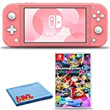 Nintendo Switch Lite (Coral) Console Bundle with Mario Kart 8 Deluxe Game and 6Ave Cleaning Cloth