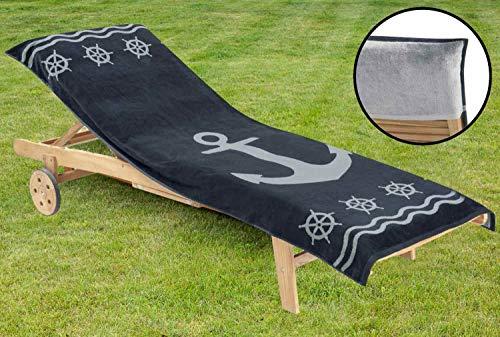 Delindo Lifestyle® Frottee Bezug für Gartenliege Anker ANTHRAZIT XXL, Schonbezug für Sonnenliegen, 83x200 cm, aus 100% Baumwolle