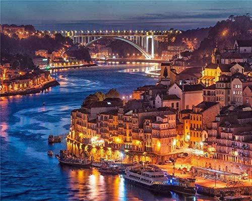 Puzzle de 1000 Piezas de Rompecabezas de Madera Rompecabezas para Adultos en el Puente del río de la Ciudad de Oporto Rompecabezas para Adultos-Regalo Educativo Rompecabezas-Juguete para niños Rompe