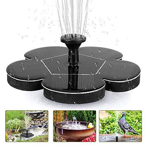 tronisky Solar Springbrunnen, Solar Teichpumpe 1.4W Outdoor Wasserpumpe Solarpumpe mit 4 Düsen, Solar Fontäne Pumpe Schwimmender Brunnen für Gartenteich, Vogel-Bad, Fisch-Behälter
