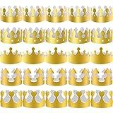 SIQUK 40 Piezas Coronas de Papel Doradas Corona de Rey Dorada Fiesta y Celebración de Cumpleaños, 5 Estilos