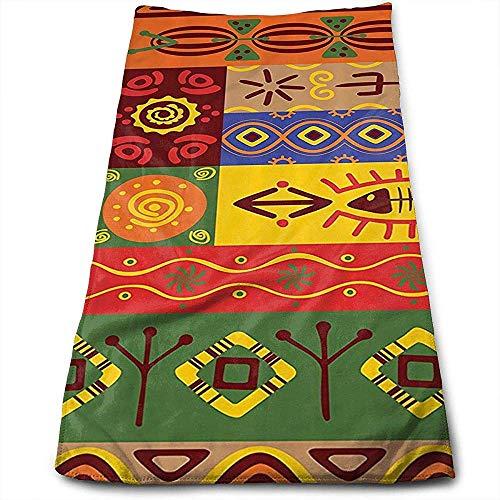 Bert-Collins Towel Afrique de l'Ouest Tribal Folk Art Formes Personnalité Amusant Motif Visage Serviettes Fibre Superfine Super Absorbant Doux Serviettes De Gym