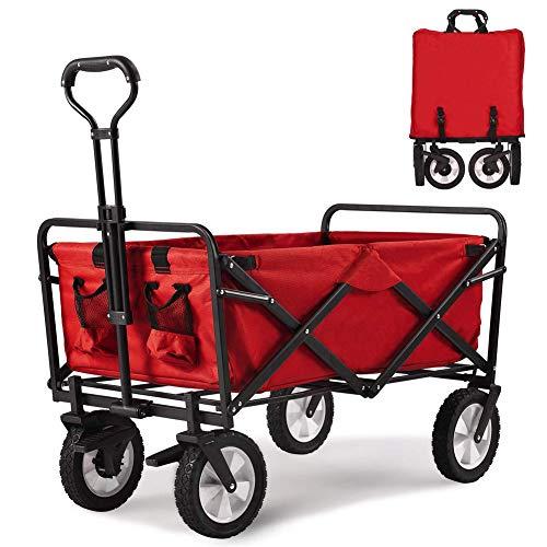 Youxiu Bollerwagen Faltbar Handwagen Transportwagen Klappbar Gartenwagen 360° drehbar Picknickwagen Strandwagen belastbar bis 80kg mit Bremsen,B