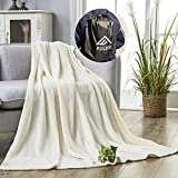 FULIFE Throw Blanket, Warm & Cozy Plush Fleece Blankets with Drawstring Backpack Bags , Fuzzy Fluffy Blankets and Throws for Bed Couch Sofa Yoga Camping Travel and Outdoor (50'x 60', Beige)