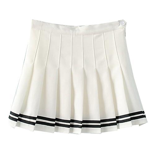 2ed8880434 Yasong Women Girls Short High Waist Pleated Skater Tennis Skirt School  Skirt Uniform With Inner Shorts