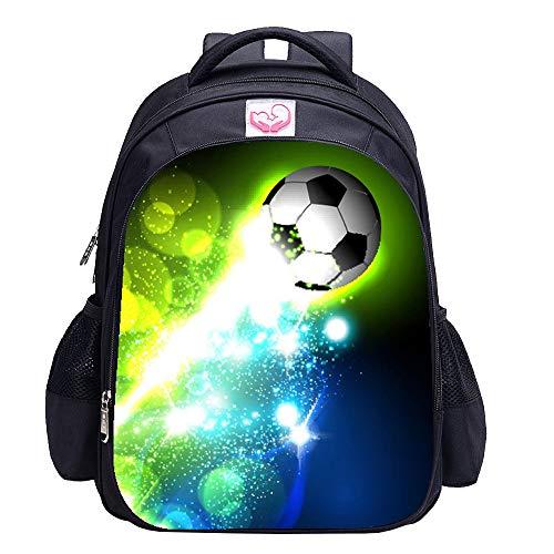Fußball-Rucksack für Jungen, Fußball-Druck, cooles Fußball-Muster, Schultasche Gr. Einheitsgröße, Fußballtasche 9