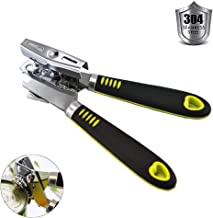 Bokdy Can Opener, Professional, Stainless Steel, Manual, Good Grips with Built-in Bottle Opener (Silver) (Renewed)