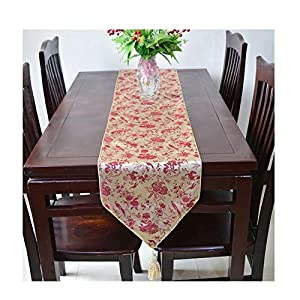 MoAndy Summer Table Runner Gold Red Table Runner Silk Stain Resistant Home Dining Table Decor 200x33cm (79x13Inch) Flowers and Birds