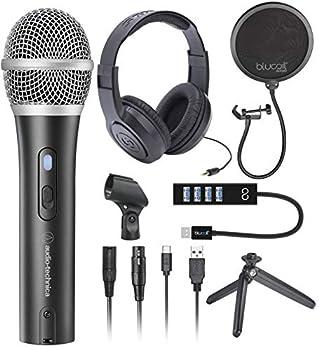 Audio-Technica ATR2100X-USB Cardioid Dynamic Microphone  ATR Series  for Podcasting Voiceover Studio Recording Bundle with Samson SR350 Stereo Headphones Blucoil Pop Filter and USB-A Mini Hub