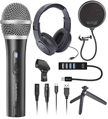 Audio-Technica ATR2100X-USB Cardioid Dynamic Microphone for Podcasting, Voiceover, Studio Recording Bundle with SR350 Stereo Headphones, Blucoil Pop Filter, and Mini USB Type-A Hub with 4 USB Ports