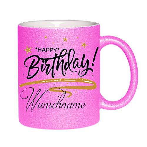 Crealuxe Glitzertasse (Pink) Happy Birthday (Wunschname) - Kaffeetasse, Bedruckte Tasse mit Sprüchen oder Bildern, Bürotasse,
