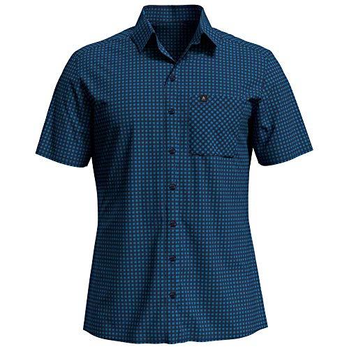 Odlo Herren Nikko Kurzarm-Hemd, Blue Aster-Diving Navy-Check, S